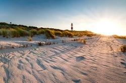 Strand mit Leuchtturm in Dänemark