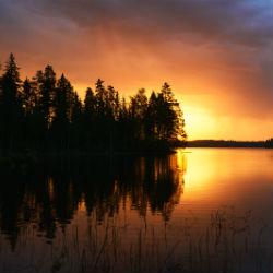 Gewässer Lappland Sonneuntergang