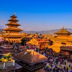 Blick auf Nepal in der Abendsonne